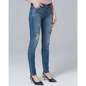 WHBM Floral Distressed Skinny Jeans